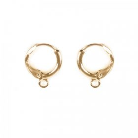 Gold Plated Round Earring Base with Loop 11mm 1xPair
