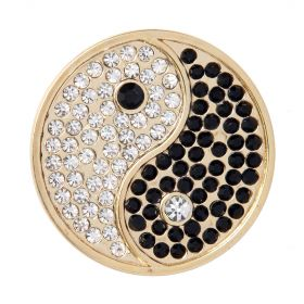 Gold Plated Yin and Yang Crystal Coin Disk for Interchangeable Locket 32mm Pk1