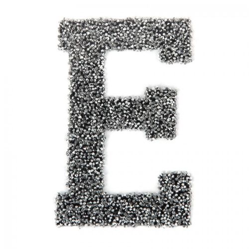 Swarovski Crystal Letter 'E' Self-Adhesive Fabric-It Black CAL Pk1