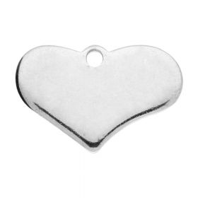 Heart / pendant / surgical steel / 12.5x19x1.5mm / silver / 2pcs