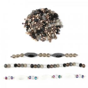 Black/Grey/White Assorted Glass Bead Bundle