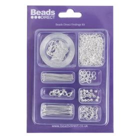 Beads Direct Silver Plated Findings Kit with Chain and Elastic