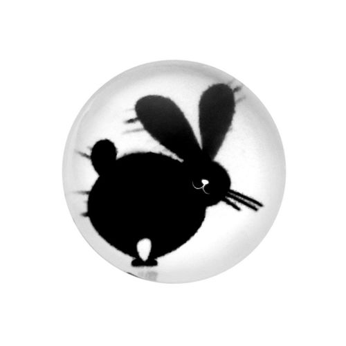 Glass cabochon with graphics K14 PT1486 / black and white / 14mm / 4pcs