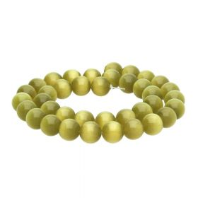 Cat's eye (synthetic) / round / 10mm / light olive green / 40pcs