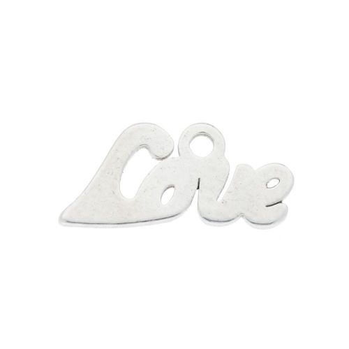 Love / charm / surgical steel / 12x6mm / silver / 4pcs