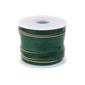 Antique Green Dyed Matte Finish 3mm Flat Leather Cord 5metres