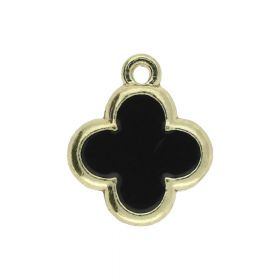 SweetCharm™ Clover / charms pendant / 15x13x1.5mm  / gold plated / black / 2pcs