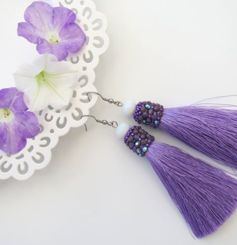 How to make earrings with tassels. A beaded tassel cap