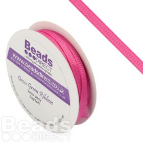 Hot Pink Grosgrain Ribbon 3mm Sold on a 5 Metre Reel