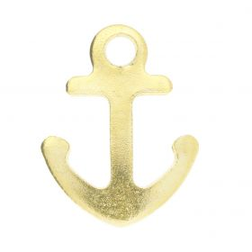 Anchor / pendant / surgical steel / 14x11x1mm / gold / 2pcs