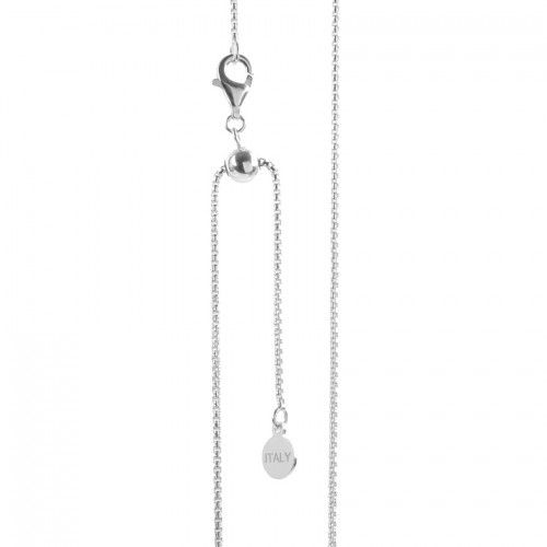 Sterling Silver 925 Box Chain Adjustable Ball Necklace with Clasp 22""