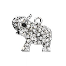 Glamm ™ Elephant / charm pendant / with zircons / 19x23x4.5mm / silver plated / Crystal / 1pcs