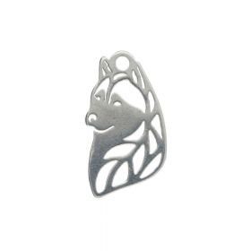 Wolf / charm / surgical steel / 12x7mm / silver / 4pcs