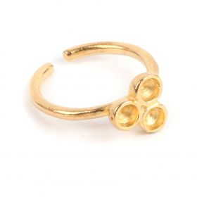 Gold Plated Ring Base Holds 3x4mm(PP32) Chatons 19mm Pk1