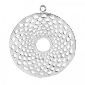 Silver Plated Brushed Hollow Round Pendant 36mm Pk2