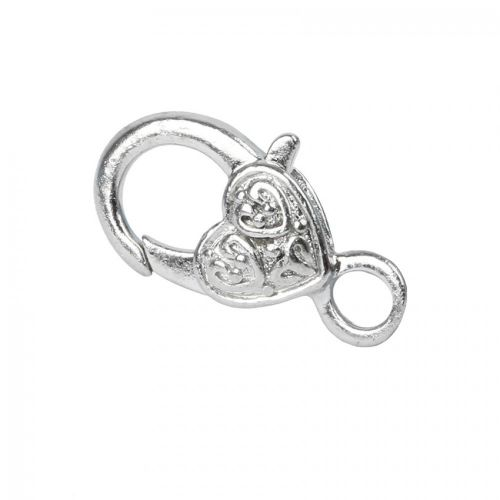 X-Silver Plated Large Heart Lobster Clasp Pk1
