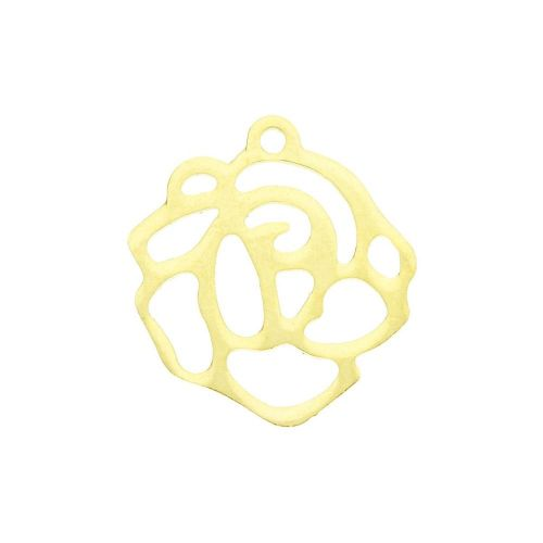 Rose / charm / surgical steel / 16x15x1 / gold / 1pcs