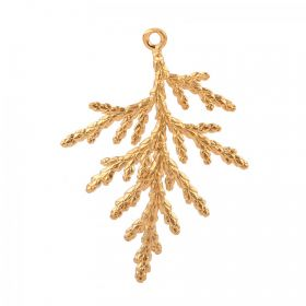 Gold Plated Brass Fancy Leaf Charm 30x34mm Pk1