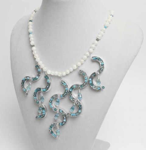 Ocean Waves Katiedids necklace