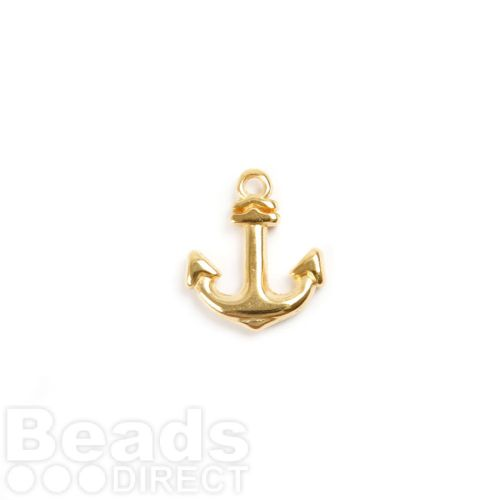 Gold Plated Zamak Anchor Charm 12x15mm Pk2