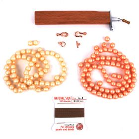 Peach & Cream Pearl Knotter Necklace Kit