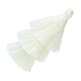 Tassel / viscose thread / triple layer / 70mm / width 7mm / ivory / 1pcs