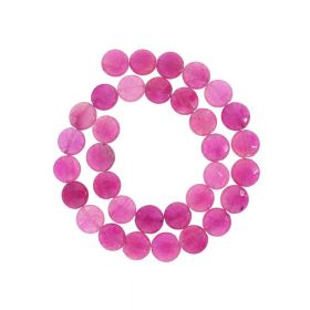 Agate / faceted disk / 12x12mm / fuchsia / 30pcs