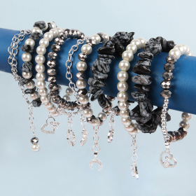 X-Black and Silver Semi Precious and Charm Bundle worth over £42