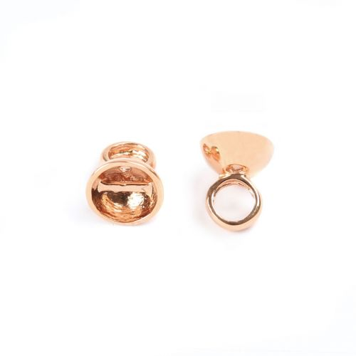 X-Rose Gold Plated Cup Ends with Inner Threading Bar 7mm Pk2