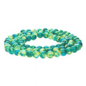 Candy™ / round / 8mm / green-yellow / 100pcs
