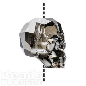 5750 Swarovski Crystal Skull Bead 13mm Crystal Silver Night Pk1
