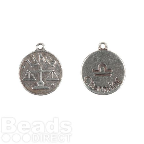 Antique Silver Zamak Zodiac Libra Coin Charms 12mm Pk1
