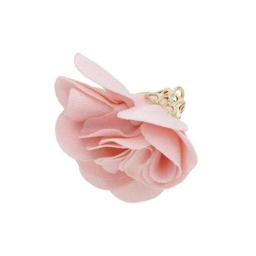 Satin Flower / with an openwork tip / 26mm / Gold Plated /powder pink / 2 pcs