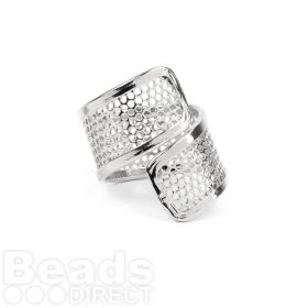 Silver Plated Sieve Seed Bead Twisted Ring Base 20x25mm Pk1