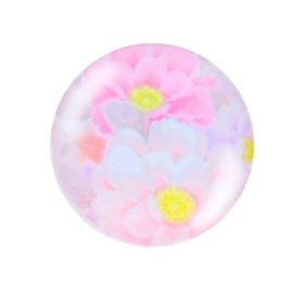 Glass cabochon with graphics K25 PT1464 / pink / 25mm / 2pcs