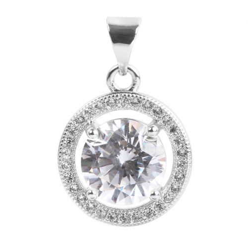 Silver Plated Heart Round Charm w/Bail Zircon Crystals 17mm Pk1
