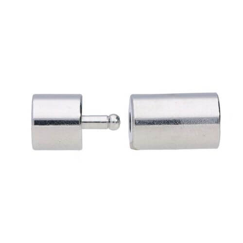 Plug-in clasp / copper / cylindrical / 18x6x6mm / silver / hole 5mm / 1pcs