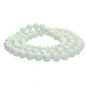 CrystaLove™ crystals / glass / faceted round / 6mm / vanilla / iridescent / 95pcs