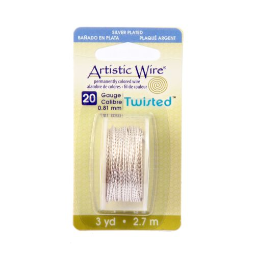 X-Beadalon Silver Plated Twisted Round Wire 20 gauge 2.7m Spool