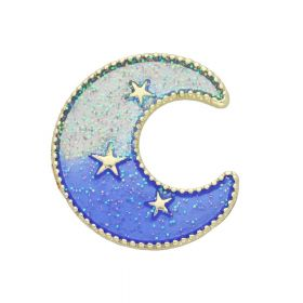 SweetCharm ™ / Moon with stars / spacer / 28x31x7mm / gold, blue / 5.5mm loop / 1pcs