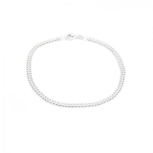 X Sterling Silver 925 2 Row Beaded Chain Bracelet with Clasp 1.5mm 7.5""