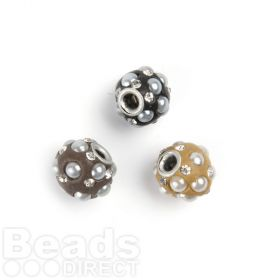 Small Neutral Clay Rondelle Crystal/Bead 11x13mm Pk3