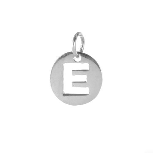 X-Sterling Silver 925 'E' Letter Cut Out Charm 11mm Pk1