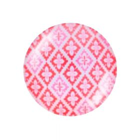 Glass cabochon with graphics K20 PT1374 / pink / 20mm / 2pcs