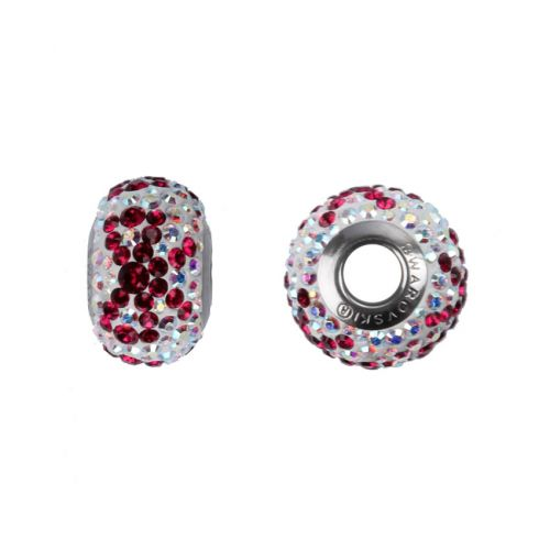81601 Swarovski Crystal Bow BeCharmed Ruby/Crystal AB 14mm Pk1