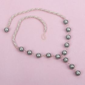 X-White & Mink Beaded Rope with Pearls Necklace Kit - Makes x1