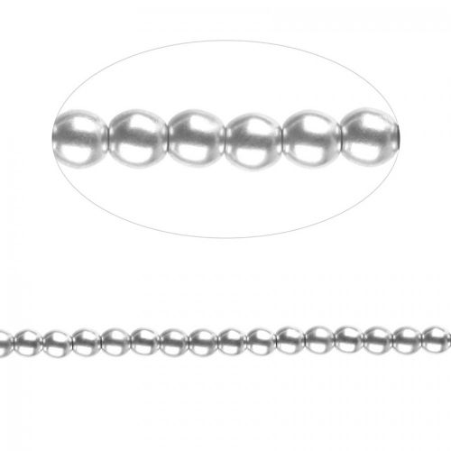Preciosa Pressed Glass Round Beads Matte Silver 4mm Pk30