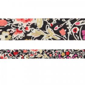 Liberty of London Style Ribbon Flat Black/Red Mix 20mm 1m