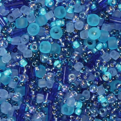 'Ocean Calm' Seed Bead Mix Assorted Sizes/Shapes 10g