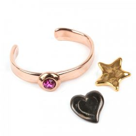 Rose Gold Bangle with Glue, Bag & 3 Pins - Star, Heart, Crystal